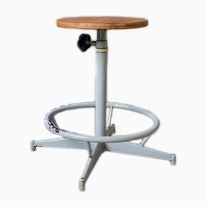 Mid-Century Industrial Factory Stool, 1950s