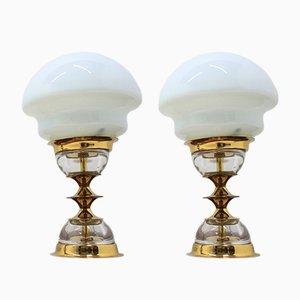 Lámparas de mesa vintage de Jablonecké Sklárny, años 70. Juego de 2