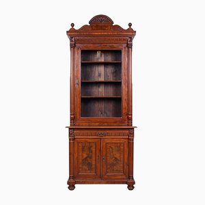 Antique Glass & Walnut Biedermeier Carved Display Cabinet