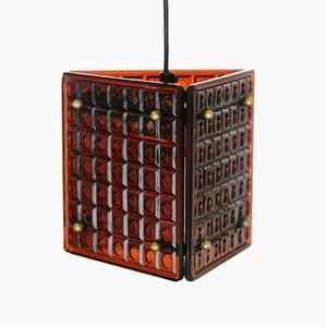 Lampada a sospensione in vetro color ambra di Mac Hegerup per Kronobergs Belysning, anni '60
