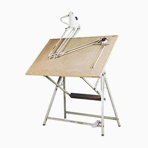 Tavolo da disegno industriale con lampada, braccio flessibile e tecnigrafo di Rotanex-Pool, Paesi Bassi, anni '50