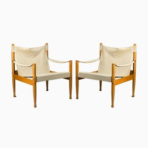 Safari Beech & Canvas Armchairs by Erik Wørts for Niels Eilersen, 1960s, Set of 2