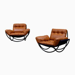 Leather & Steel Armchairs by Lennart Bender for Wilo, 1968, Set of 2