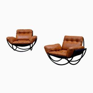 Sessel aus Leder & Stahl von Lennart Bender für Wilo, 1968, 2er Set