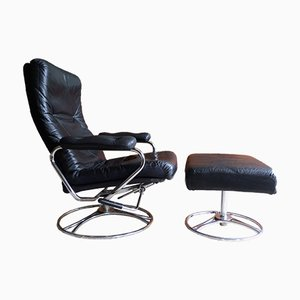 Mid-Century Leather & Chrome Lounge Chair & Ottoman from Ekornes, 1970s