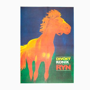 Vintage Czech The Wild Horse Called Ryn Movie Poster by Ladislav Pros, 1981