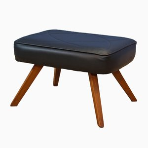 Danish Teak and Black Leatherette Ottoman, 1960s