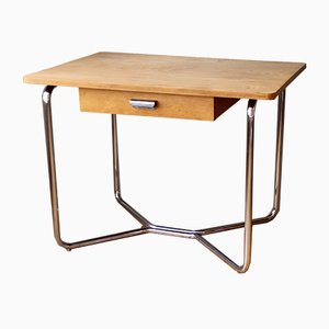 Vintage Bauhaus Tubular Steel and Beech Desk