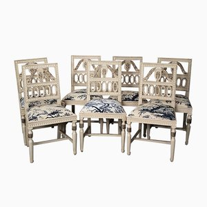 Gustavianische Null Esszimmerstühle, 7er Set
