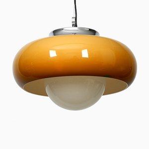Lámpara colgante grande de metal, vidrio y plástico de iGuzzini, años 70