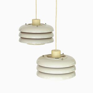 Lamingo T724 White Metal Pendant Lights by Hans-Agne Jakobsson, 1960s, Set of 2