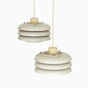Lampes à Suspension Lamingo T724 en Métal Blanc par Hans-Agne Jakobsson, 1960s, Set de 2
