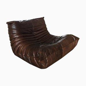Sillón Togo vintage de cuero marrón de Michel Ducaroy para Ligne Roset