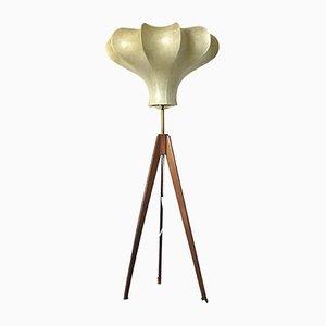 Lampada da terra Cocoon tripode Mid-Century in teak, anni '60