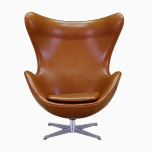 Mid-Century Leather Egg Chair by Arne Jacobsen for Fritz Hansen, 1960s