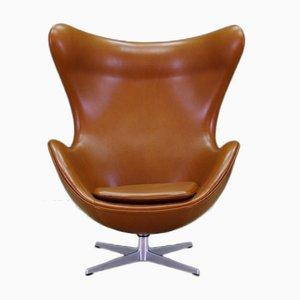 Mid-Century Leather Egg Chair by Arne Jacobsen for Fritz Hansen, 1960s