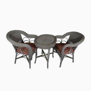 Mesa de jardín vintage de mimbre y sillas, años 80