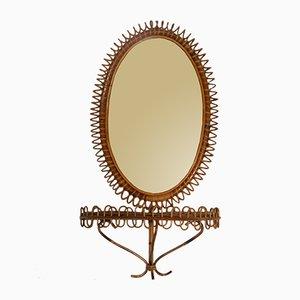 Spiegel mit Rahmen aus Korbgeflecht und Regal, 1960er