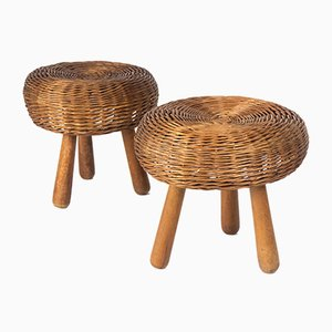 Vintage Wicker Stools by Tony Paul, Set of 2