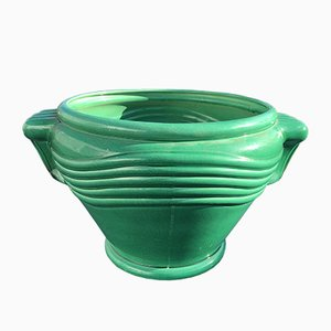 Mid-Century Green Ceramic Pot from Saint Clément