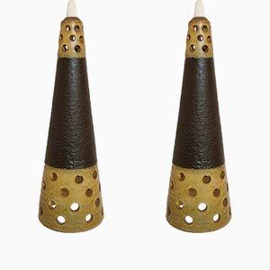 Skandinavische Hängelampen aus Keramik, 1960er, 2er Set
