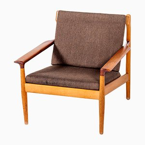 Vintage Sessel mit Gestell aus Eiche & Armlehnen aus Teak von Aksel Bender Madsen für Bovenkamp, 1960er