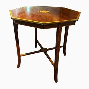 Table à Thé en Acajou Marqueté, Angleterre, 1890s