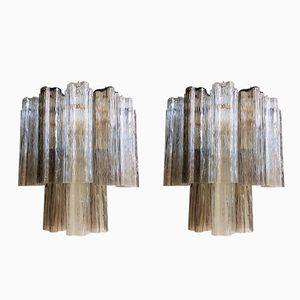Mid-Century Tronchi Wandlampen aus Muranoglas von Toni Zuccheri für Venini, 2er Set