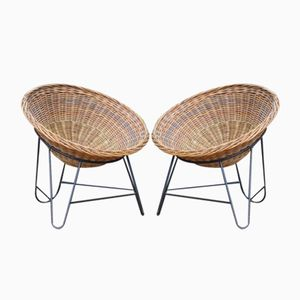 Mid-Century Wicker Easy Chairs, 1950s, Set of 2