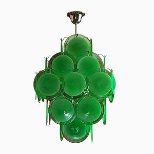 Lampadario vintage con dischi in vetro di Murano verde