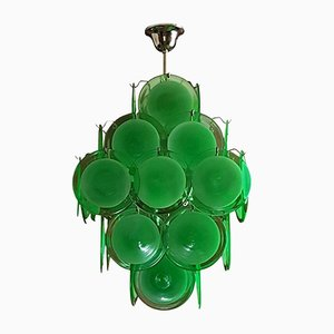 Vintage Green Disc Murano Glass Chandelier