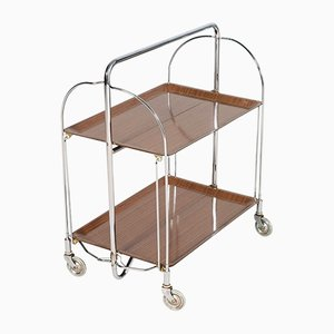 Vintage Formica and Chrome Folding Serving Cart, 1970s
