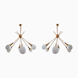 Mid-Century Modern Sputnik Brass & Glass Chandeliers from Stilnovo, 1970s, Set of 2