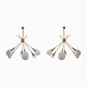 Moderne Mid-Century Sputnik Kronleuchter aus Messing & Glas von Stilnovo, 1970er, 2er Set