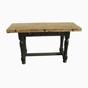 Mid-Century Oak Folding Console Table