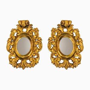 Specchi piccoli antichi in legno dorato, set di 2