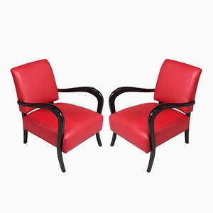 Art Deco Ebonized Walnut Lounge Chairs by Paolo Buffa, 1930s, Set of 2