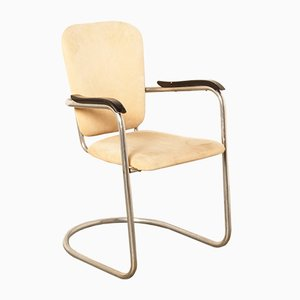 Vintage D3 Chromed Tubular Steel Armchair from Fana Rotterdam, 1940s