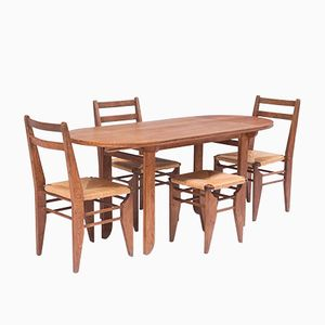 Vintage French Oak Dining Set by Guillerme et Chambron, 1960s