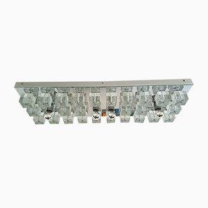 Plafón vintage grande de cristal de Murano y metal cromado