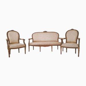 Antikes Louis XVI Sofa & 2 Polsterstühle
