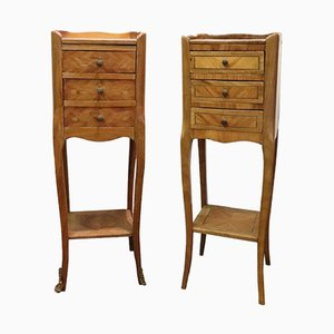 Inlaid Vintage Bedside Nightstands, 1970, Set of 2