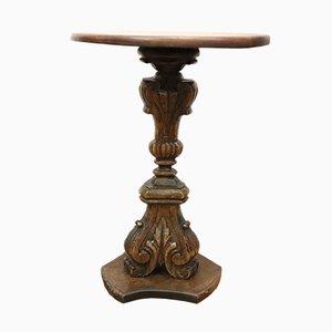 Tavolino da caffè antico in legno di noce intagliato, Italia