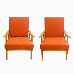 Orange Boomerang Armchairs from Thonet, 1960s, Set of 2