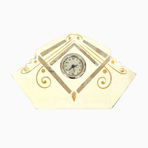 Reloj de mesa de arenisca agrietada con motivos geométricos dorados y plateados pintados a mano, años 40