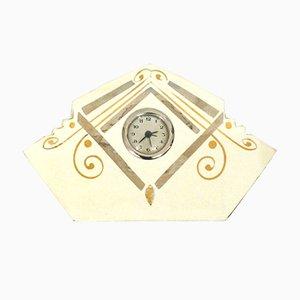 Tischuhr aus rissigem Steingut mit handgemalten goldenen und silbernen geometrischen Mustern, 1940er