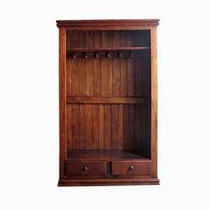 Perchero antiguo de madera con almacenamiento
