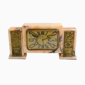 Petite Horloge Rose Art Déco en Marbre et en Bronze Doré par DEP, 1920s