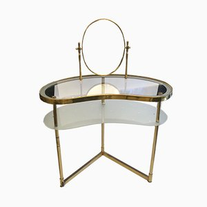 Mid-Century Italian Glass and Brass Kidney Shaped Dressing Table