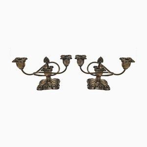 Versilberte Napoleon III Kerzenhalter, 1860er, 2er Set